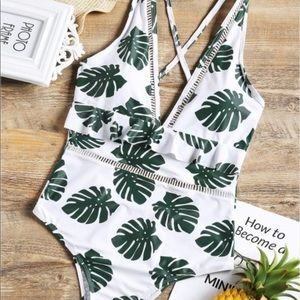Palm leaf printed monokini